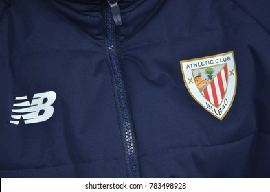 LVIV, UKRAINE - December 07, 2017: Jacket with the emblem of Athletic Bilbao close-up during the UEFA Europa League match between Zorya Luhansk vs Athletic Bilbao (Spain), Ukraine
