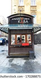 Lviv, Ukraine - December 08, 2019: Streets and Newspaper Kiosk of the old city of Lviv.