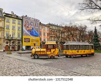 Lviv , Ukraine - December 09; Train for city tour in Lviv, Ukraine