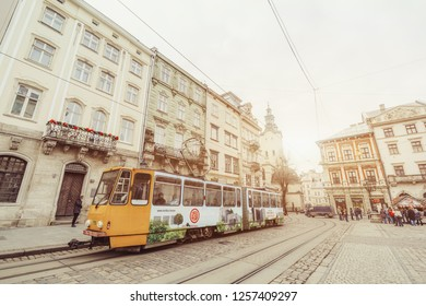 LVIV, UKRAINE December 12th , 2018: Tram on the square market
