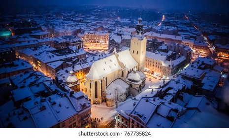 Lviv, Ukraine - December 3, 2017: Latin cathedral in winter Lviv