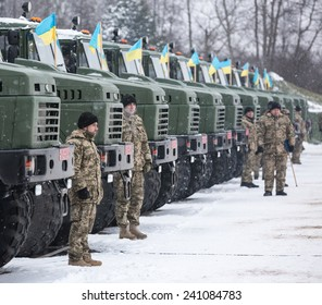 LVIV, UKRAINE - DECEMBER 30, 2014: Armed forces of Ukraine.  Military and armored vehicles at the International Center for Peacemaking and safety before transferring it into zone of military conflict