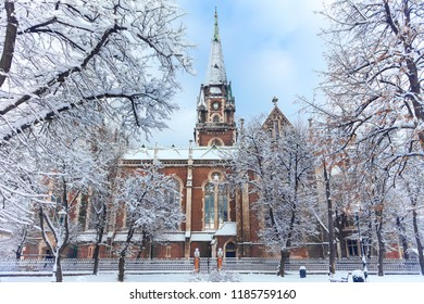 Lviv, Ukraine - December 4, 2017: St. Elizabeth church in Lviv  in winter