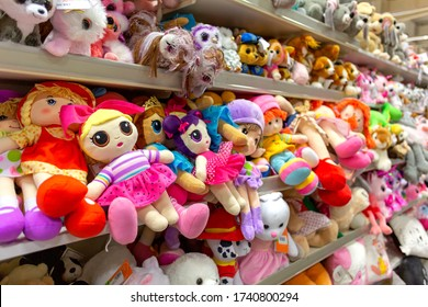 lviv / Ukraine - December, 4 2019: Lots of colorful soft toys on store shelves.