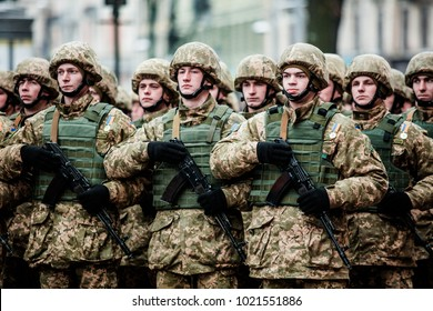 Lviv, Ukraine - December 6, 2016: Parade of defenders and military equipment on 25th anniversary of Armed Forces of Ukraine