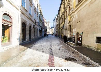 LVIV, UKRAINE - Feb 14, 2017: Street landscape in Lviv, Ukraine.