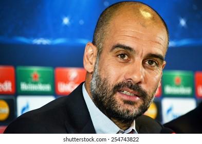 LVIV, UKRAINE - FEB 16: Head coach of FC Bayern Munich Pep Guardiola before the Champions League match between Shakhtar vs Bayern Munich, 16 February 2015, Arena Lviv, Lviv, Ukraine