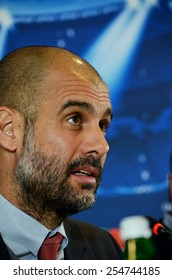 LVIV, UKRAINE - FEB 16: Head coach of FC Bayern Munich Pep Guardiola at a press conference before the Champions League match between Shakhtar vs Bayern, 16 February 2015, Arena Lviv, Lviv, Ukraine
