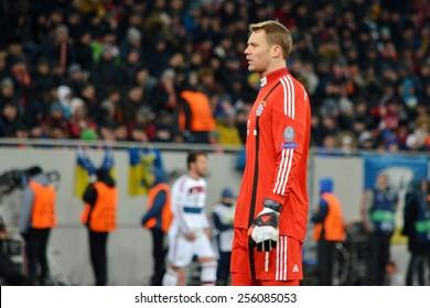LVIV, UKRAINE - FEB 17: Manuel Neuer in action in the Champions League match between Shakhtar vs Bayern Munich, 17 February 2015, Arena Lviv, Lviv, Ukraine