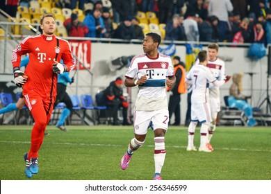 LVIV, UKRAINE - FEB 17: Manuel Neuer (L) in action and David Alaba (R) in the Champions League match between Shakhtar vs Bayern Munich, 17 February 2015, Arena Lviv, Lviv, Ukraine