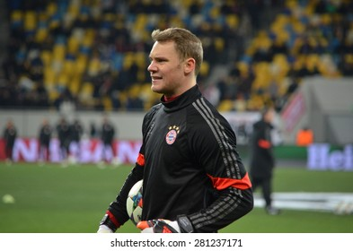 LVIV, UKRAINE - FEB 17: Manuel Neuer in action before the match between Shakhtar vs Bayern Munich, 17 February 2015, Arena Lviv, Lviv, Ukraine