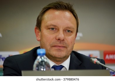 LVIV, UKRAINE - FEB 18: The head coach Breitenreiter Andre at a press conference during the UEFA Europa League match between Shakhtar vs Schalke 04, 18 February 2016, Arena Lviv, Ukraine