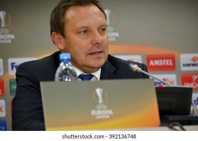 LVIV, UKRAINE - FEB 18: Head coach Andre Breitenreiter at a press conference before the UEFA Europa League match between Shakhtar vs Schalke 04 (Germany), 18 February 2016, Arena Lviv, Ukraine