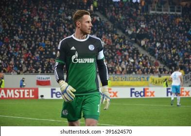 LVIV, UKRAINE - FEB 18: Ralf Fahrmann in action during the UEFA Europa League match between Shakhtar vs Schalke 04 (Germany), 18 February 2016, Arena Lviv, Ukraine