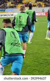 LVIV, UKRAINE - FEB 18: Schalke Football players train and run during the UEFA Europa League match between Shakhtar vs Schalke 04 (Germany), 18 February 2016, Arena Lviv, Ukraine