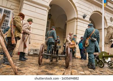 Lviv, Ukraine - February 02, 2020: Military historical reconstruction The November revolution . Actors are preparing for the start of reconstruction.   Lviv, Ukraine.