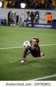 LVIV, UKRAINE - FEBRUARY 17, 2015: Goalkeeper Manuel Neuer of Bayern Munich in action during warm up session before UEFA Champions League game against FC Shakhtar Donetsk