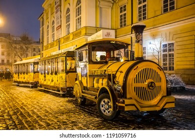 Lviv, Ukraine - February 17, 2017: Sightseeing train in Lviv