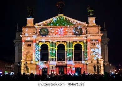 Lviv, Ukraine - January 1, 2018: Celebration of New Year 2018. 3D mapping show on Lviv Opera house