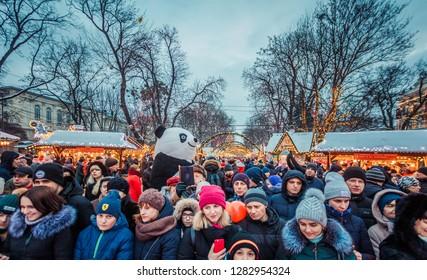 Lviv, Ukraine - January 12, 2018: A lot of people on Lviv Christmas fair