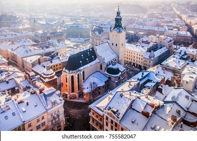 Lviv, Ukraine  -  January 14, 2017: Latin cathedral in winter Lviv