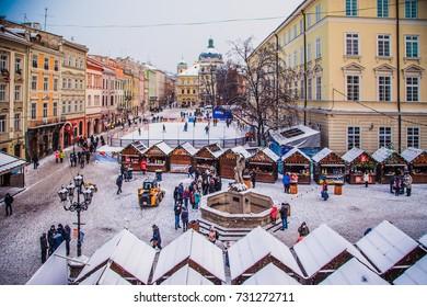 Lviv, Ukraine - January 20, 2017: Market square in Lviv  in winter