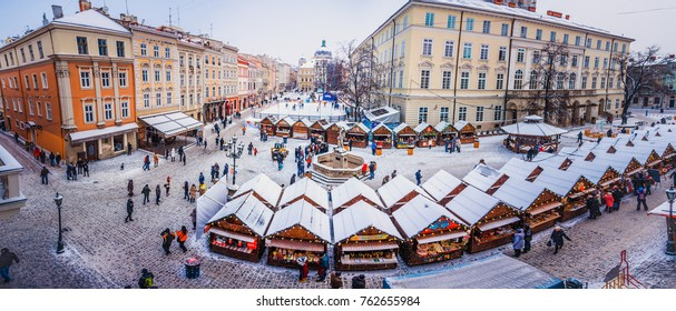 Lviv, Ukraine - January 20, 2017: Market square in Lviv  in winter