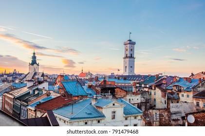 Lviv, Ukraine - January 6, 2017: Lviv city hall