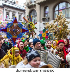 Lviv, Ukraine - January 8, 2015: Participants traditional Christmas of  Verteps Parade (nativity Scene), Christmas stars, carols singing, during mass holiday festivities of Orthodox Christmas holiday.
