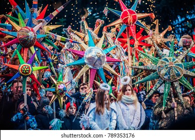 "Lviv, Ukraine - January 8, 2018: Celebration of  Orthodox Christmas in Lviv. Festival ""The flash of Christmas star"". Parade of Christmas stars."