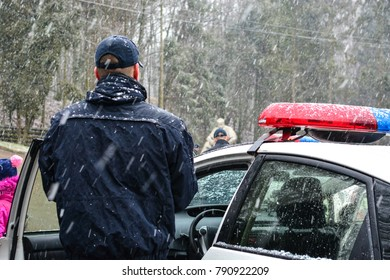 Lviv, Ukraine - January 8, 2018: Ukrainian Patrol Police celebrate Christmas with children. Police officers teach children the road rules and tell about their work.
