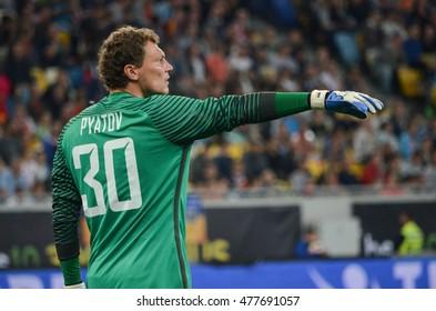 LVIV, UKRAINE - JUL 25: Andriy Pyatov in action during the Europa League match between Shakhtar Donetsk vs Istanbul Basaksehir, 25 Jule 2016, Arena Lviv, Ukraine