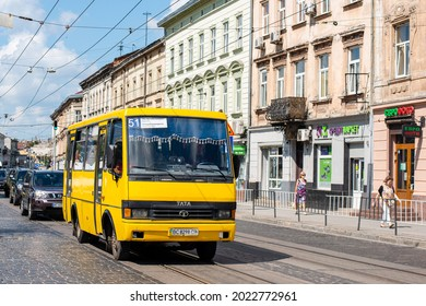 LVIV, UKRAINE - Jule 07, 2021. Bus BAZ-A079 riding with passengers in the streets of Lviv.