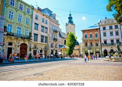 LVIV, UKRAINE - JULY 03: City center on July 03, 2016 in Lviv, Ukraine
