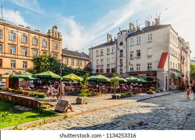 Lviv, Ukraine - July 10, 2018: Lviv outdoor cafe