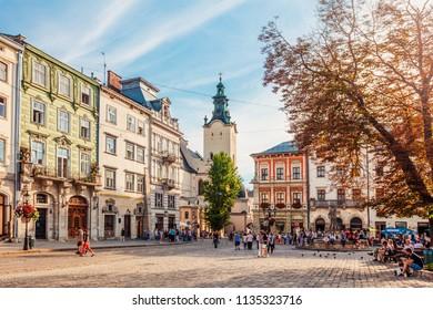 Lviv, Ukraine - July 10, 2018:  Lviv market square