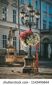 Lviv, Ukraine - July 10, 2018:  lantern on Market square in Lviv, Ukraine