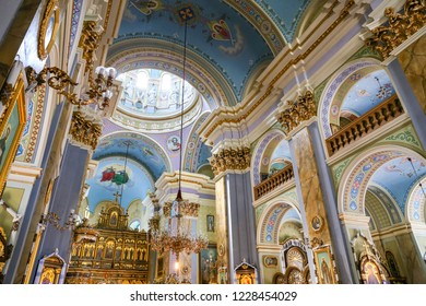 LVIV, UKRAINE - JULY 10, 2018: Inside of Transfiguration Church in lviv
