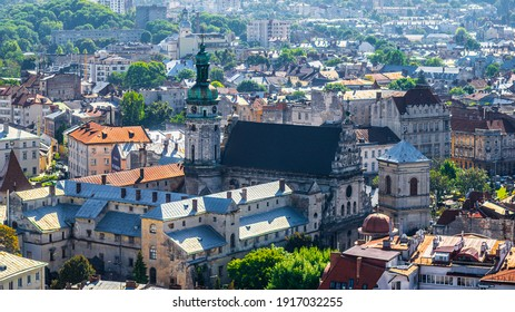 LVIV, UKRAINE - JULY 10, 2019: Roofs and domes of ancient city Lviv.