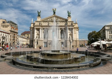 LVIV, UKRAINE - JULY 11, 2018: Pond and Lviv Opera House in Lviv City