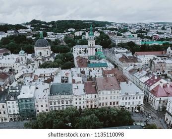 LVIV, UKRAINE July 15th, 2018: Panorama of Lviv from the Lviv Town Hall, view of Rynok (Market)