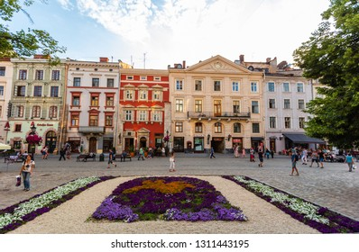 Lviv, Ukraine - July 17, 2017: flowerbed in Lviv