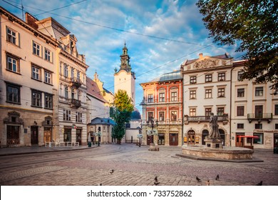 Lviv, Ukraine - July 17, 2017: Market square in Lviv