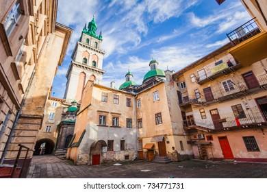 Lviv, Ukraine - July 17, 2017: Dormition Church in Lviv