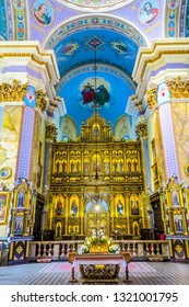 LVIV, UKRAINE - JULY 2017: Church of the Transfiguration of the Lord Intrerior Iconostasis Icons Altar View