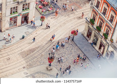 Lviv, Ukraine - July 21, 2018: view on Market square from Lviv City hall. Tilt-shift lens.