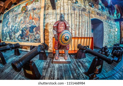 Lviv, Ukraine - July 21, 2018: Lviv City Arsenal. Interior. Exhibition