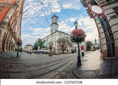 Lviv, Ukraine - July 21, 2018: Lviv city hall. Fisheye lens