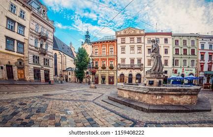 Lviv, Ukraine - July 21, 2018: Neptune fountain on Market square in Lviv