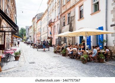 Lviv, Ukraine - July 24, 2019: Lviv outdoor cafe